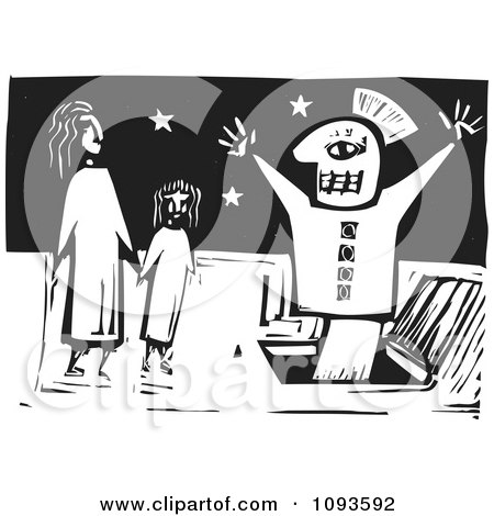 Clipart Puppet Popping Out Of A Hatch In Front Of Two People Black And White Woodcut - Royalty Free Vetor Illustration by xunantunich
