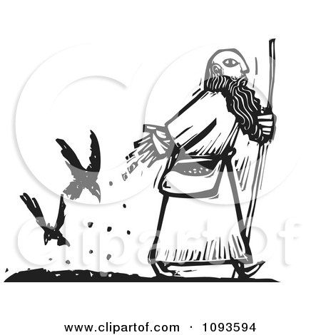 Clipart Man Dropping Seed For Crows To Follow His Path Black And White Woodcut - Royalty Free Vetor Illustration by xunantunich