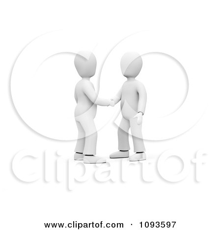 Clipart Two 3d White Men Shaking Hands - Royalty Free CGI Illustration by chrisroll