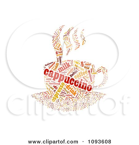 Clipart Cappuccino Word Collage Over Black - Royalty Free ...