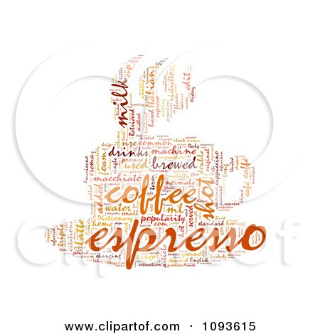 Clipart Espresso Word Collage In The Shape Of A Cup And Saucer 3 - Royalty Free Illustration by MacX