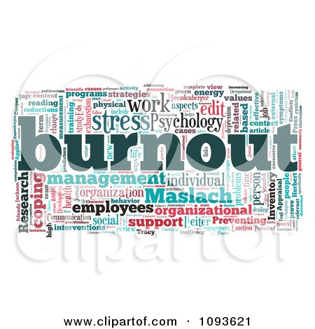 Clipart Work And Stress Burnout Word Collage - Royalty Free Illustration by MacX