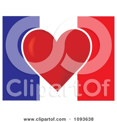 Clipart French Flag With A Red Heart In The Center - Royalty Free Vector Illustration by Maria Bell