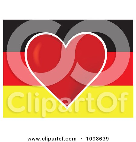Clipart German Flag With A Red Heart In The Center - Royalty Free Vector Illustration by Maria Bell
