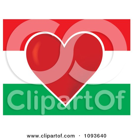 Clipart Hungary Flag With A Red Heart In The Center - Royalty Free Vector Illustration by Maria Bell