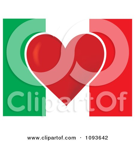 Clipart Italian Flag With A Red Heart In The Center - Royalty Free Vector Illustration by Maria Bell