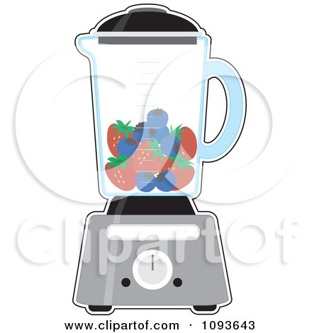Clipart Kitchen Blender With Blueberries And Strawberries For A Smoothie - Royalty Free Vector Illustration by Maria Bell