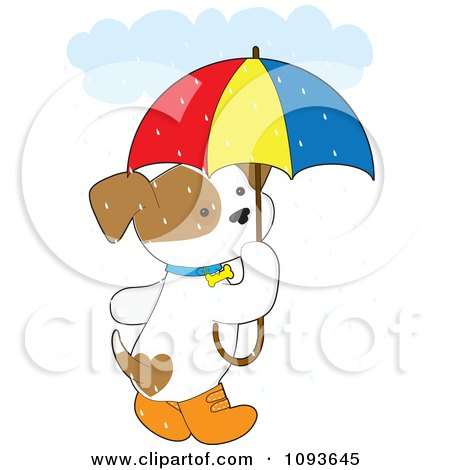 Clipart Cute Puppy With Boots And An Umbrella In The Rain - Royalty Free Vector Illustration by Maria Bell