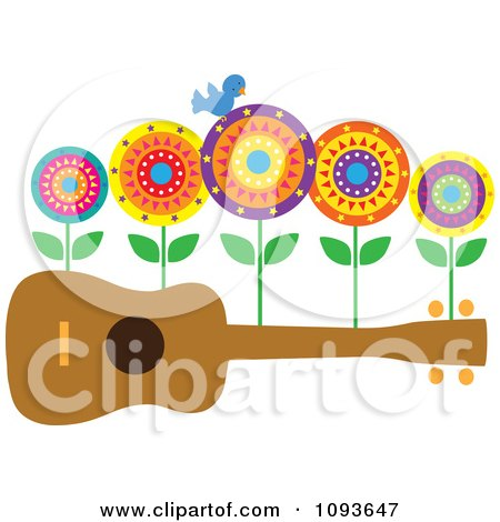 Clipart Bluebird And Flowers On A Ukulele - Royalty Free Vector Illustration by Maria Bell
