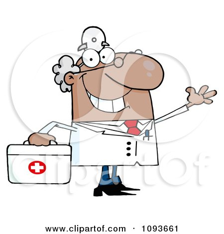 Clipart Waving Hispanic Male Doctor With A First Aid Kit - Royalty Free Vector Illustration by Hit Toon