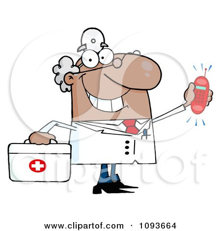 Clipart Waving Caucasian Male Doctor With A Ringing Phone - Royalty Free Vector Illustration by Hit Toon