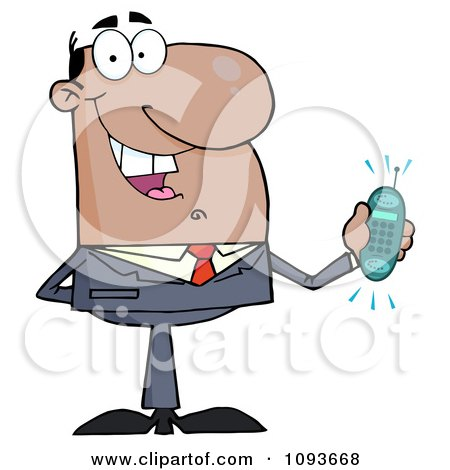 Clipart Hispanic Businessman Holding A Ringing Cell Phone - Royalty Free Vector Illustration by Hit Toon