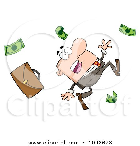 Clipart Caucasian Businessman Tripping And Dropping Money - Royalty Free Vector Illustration by Hit Toon