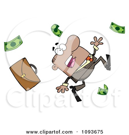 Clipart Hispanic Businessman Tripping And Dropping Money - Royalty Free Vector Illustration by Hit Toon