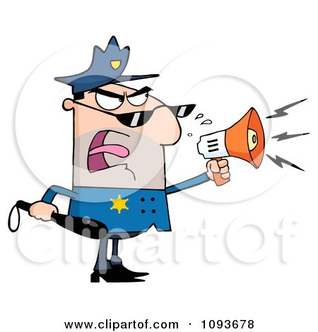 Clipart Caucasian Male Police Officer Shouting Through A Megaphone - Royalty Free Vector Illustration by Hit Toon