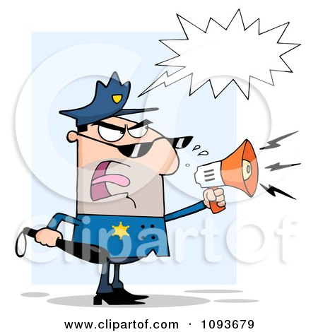 Clipart White Male Police Officer Shouting Through A Megaphone - Royalty Free Vector Illustration by Hit Toon