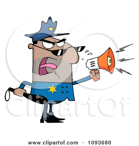 Clipart Hispanic Male Police Officer Shouting Through A Megaphone - Royalty Free Vector Illustration by Hit Toon