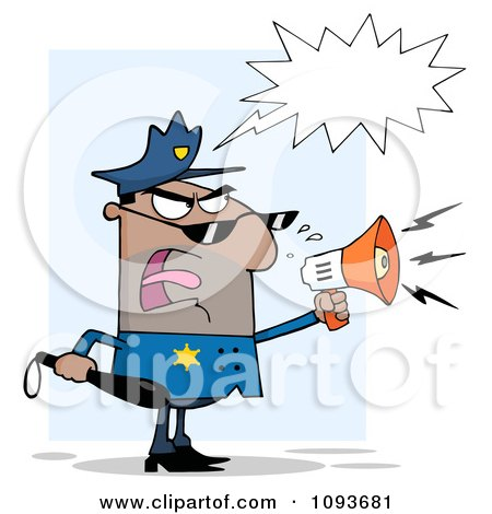 Clipart Hispanic Male Police Officer Screaming Through A Megaphone - Royalty Free Vector Illustration by Hit Toon