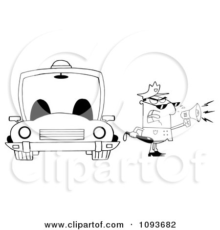Clipart Strict Black And White Male Police Officer Shouting Through A Megaphone By A Cop Car - Royalty Free Vector Illustration by Hit Toon