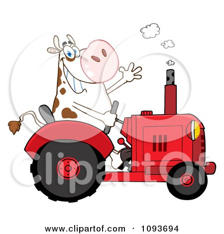 Clipart Cow Farmer Waving And Driving A Red Tractor - Royalty Free Vector Illustration by Hit Toon
