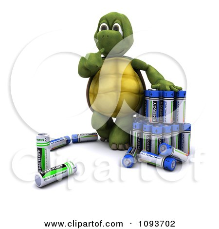 Clipart 3d Tortoise With Batteries - Royalty Free Illustration by KJ Pargeter