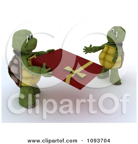 Clipart 3d Tortoise Giving His Mate A Valentines Day Gift - Royalty Free Illustration by KJ Pargeter