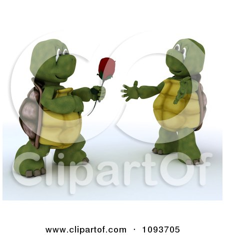 Clipart 3d Tortoise Giving His Valentine A Rose - Royalty Free Illustration by KJ Pargeter