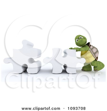 Clipart 3d Tortoise Pushing Puzzle Pieces - Royalty Free Illustration by KJ Pargeter