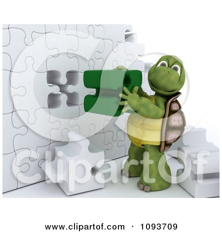 Clipart 3d Tortoise Assembling A Puzzle Wall - Royalty Free Illustration by KJ Pargeter