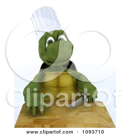 Clipart 3d Chef Tortoise With A Knife And Cutting Board - Royalty Free Illustration by KJ Pargeter