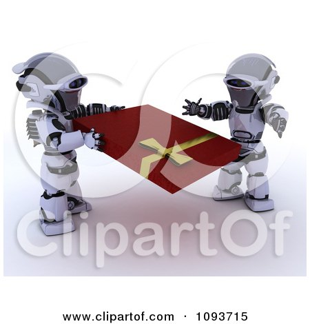 Clipart 3d Valentines Day Robot Giving His Mate A Present - Royalty Free Illustration by KJ Pargeter