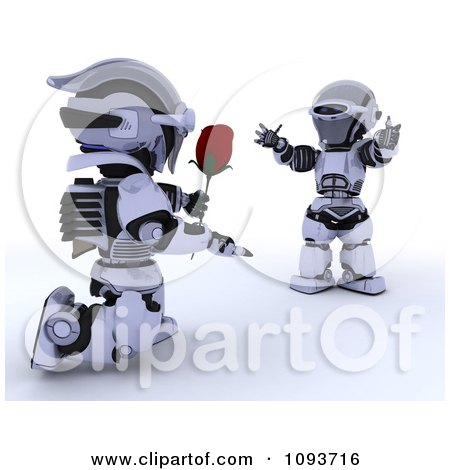 Clipart 3d Valentines Day Robot Giving His Mate A Rose - Royalty Free Illustration by KJ Pargeter