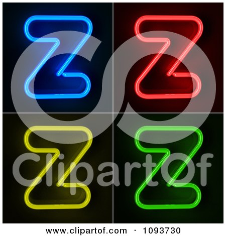 Clipart Blue Red Yellow And Green Neon Capital Z Letters - Royalty Free CGI Illustration by stockillustrations