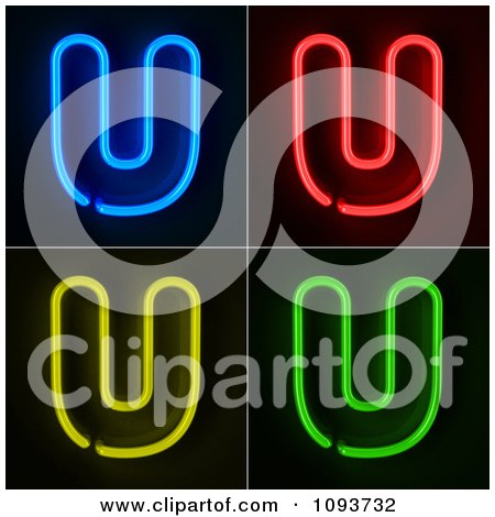 Clipart Blue Red Yellow And Green Neon Capital U Letters - Royalty Free CGI Illustration by stockillustrations