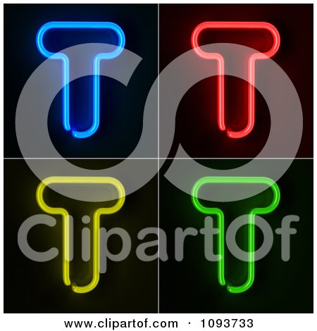 Clipart Blue Red Yellow And Green Neon Capital T Letters - Royalty Free CGI Illustration by stockillustrations