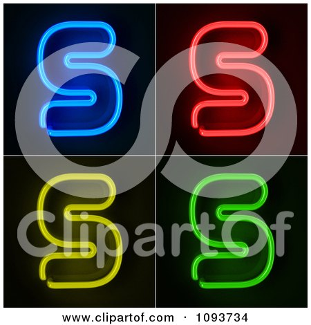 Clipart Blue Red Yellow And Green Neon Capital S Letters - Royalty Free CGI Illustration by stockillustrations