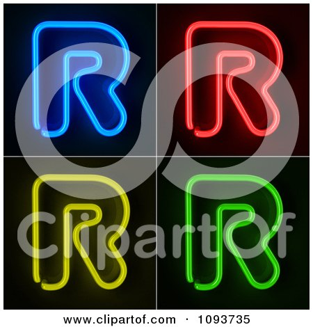 Clipart Blue Red Yellow And Green Neon Capital R Letters - Royalty Free CGI Illustration by stockillustrations