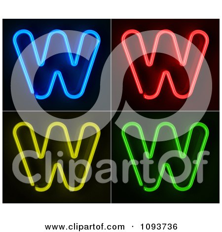 Clipart Blue Red Yellow And Green Neon Capital W Letters - Royalty Free CGI Illustration by stockillustrations