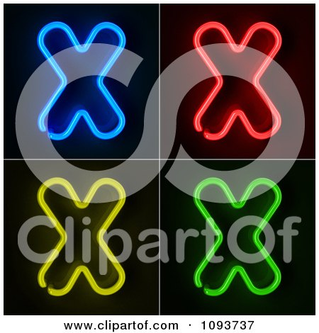 Clipart Blue Red Yellow And Green Neon Capital X Letters - Royalty Free CGI Illustration by stockillustrations