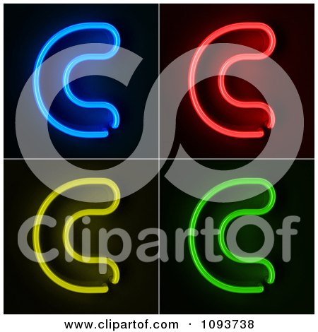 Clipart Blue Red Yellow And Green Neon Capital C Letters - Royalty Free CGI Illustration by stockillustrations