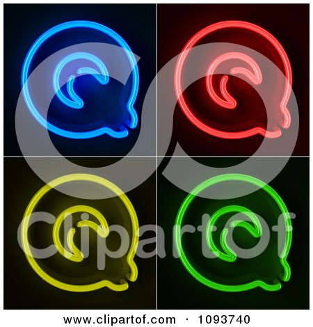 Clipart Blue Red Yellow And Green Neon Capital Q Letters - Royalty Free CGI Illustration by stockillustrations