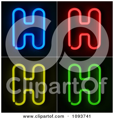 Clipart Blue Red Yellow And Green Neon Capital H Letters - Royalty Free CGI Illustration by stockillustrations