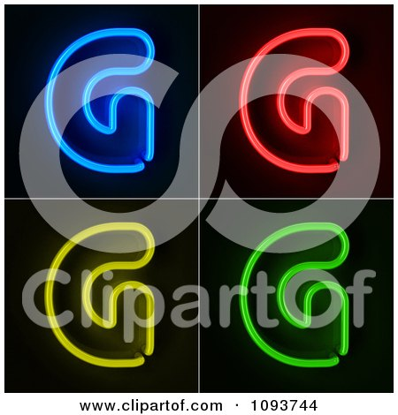 Clipart Blue Red Yellow And Green Neon Capital G Letters - Royalty Free CGI Illustration by stockillustrations