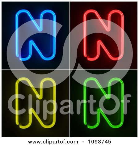 Clipart Blue Red Yellow And Green Neon Capital N Letters - Royalty Free CGI Illustration by stockillustrations