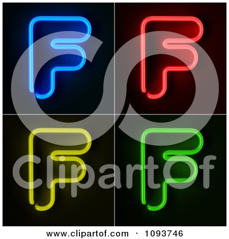 Clipart Blue Red Yellow And Green Neon Capital F Letters - Royalty Free CGI Illustration by stockillustrations