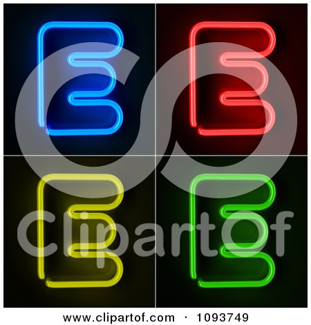 Clipart Blue Red Yellow And Green Neon Capital E Letters - Royalty Free CGI Illustration by stockillustrations