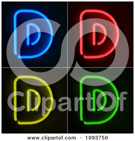 Clipart Blue Red Yellow And Green Neon Capital D Letters - Royalty Free CGI Illustration by stockillustrations