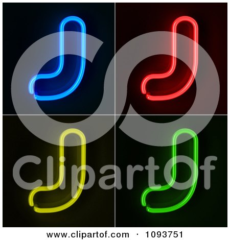 Clipart Blue Red Yellow And Green Neon Capital J Letters - Royalty Free CGI Illustration by stockillustrations