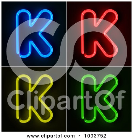Clipart Blue Red Yellow And Green Neon Capital K Letters - Royalty Free CGI Illustration by stockillustrations