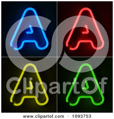 Clipart Blue Red Yellow And Green Neon Capital A Letters - Royalty Free CGI Illustration by stockillustrations